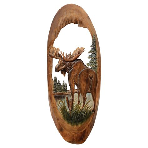 woodworking for wildlife moose oval wood carving wall