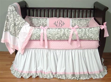 Designer Crib Bedding Sets Pink And Silver Damask Baby Bedding