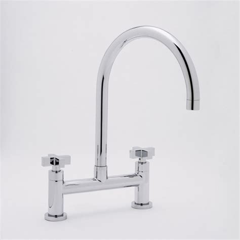 houzz kitchen faucets rohl rohl modern architectural bridge kitchen two handle