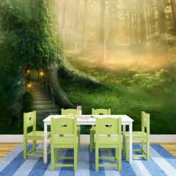 Enchanted Forest Wall Mural magical tree house in enchanted forest fantasy wall mural