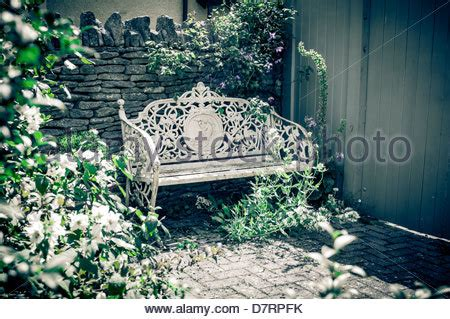 ornate garden bench victorian bench at garden stock photo royalty free image 87769142 alamy