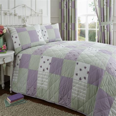 Quilted Patchwork Bedspreads - lilac green patchwork quilted bedspread tonys textiles