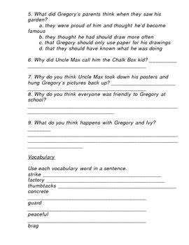 the chalk box kid guided reading worksheets by linda