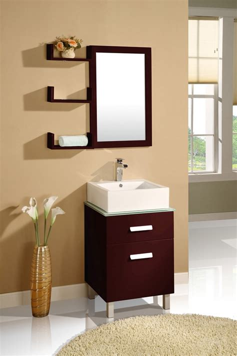 Bathroom Cabinet With Shelves Bathroom Simple Wood Bathroom Mirrors With Shelves And Small Wood Vanity Cabinet And