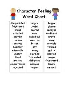 updated character feelings word chart s