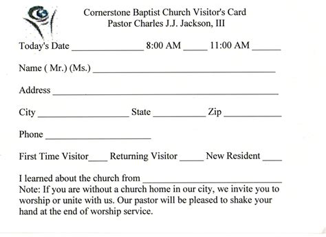microsoft church visitor s card template 6 best images of printable church visitor cards
