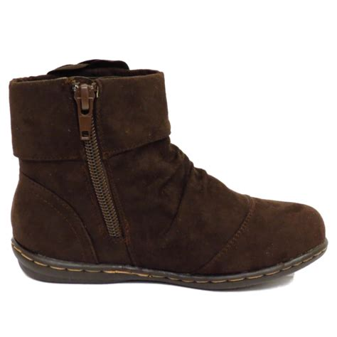 size 12 boots childrens brown ankle flower zip up school