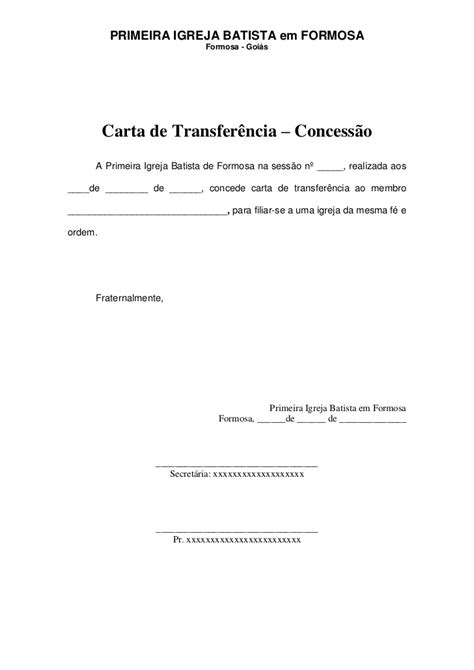 carta de transferencia entre igrejas batistas modelo carta de transfer 234 ncia