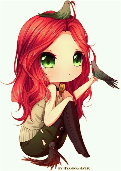 Cute Anime Chibi Girl With Red Hair | chibi girl red hair green eyes chibi pinterest green
