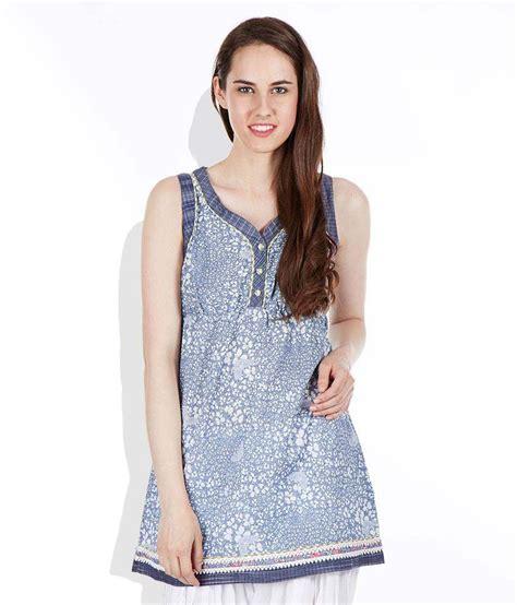 Tunic Helena Tunic 1 biba blue printed cotton tunic buy biba blue printed cotton tunic at best prices in