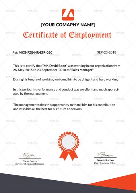 talented employment certificate design template in psd word