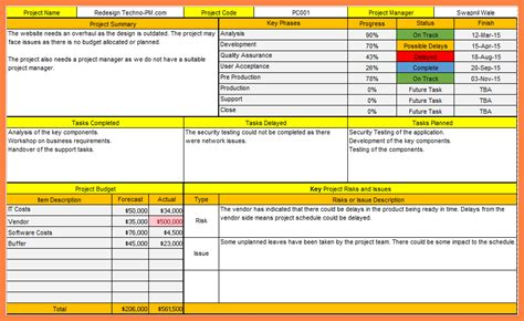 4 one page project status report template progress report