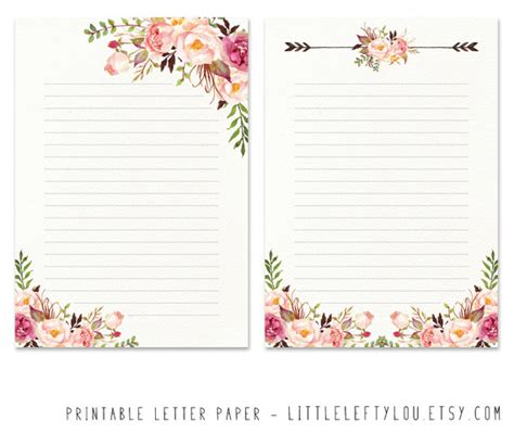 Printable Letter Paper Floral 2 Stationery Writing Letter Floral Stationery Template