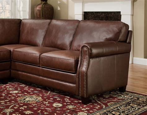 Traditional Sectional Sofa Cocoa Brown Top Grain Italian Leather Traditional Sectional Sofa
