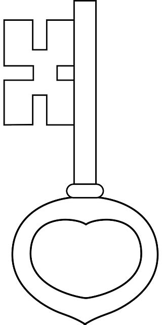 old key coloring page old key outline free keys historic classical