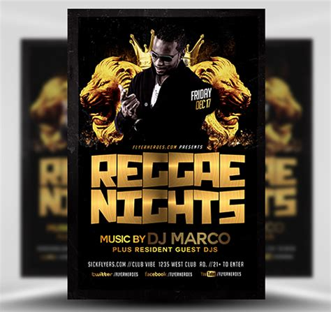 template flyer reggae black and gold reggae flyer template flyerheroes