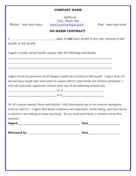 No Harm Contract Therapy Contract Template
