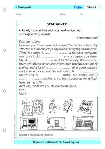 test ingresso inglese scuola media prove d ingresso inglese classe 4 la vita scolastica