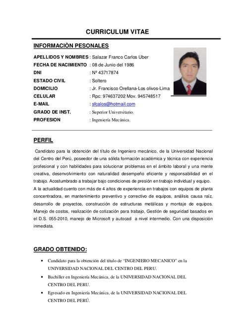 Modelo Curriculum Ingeniero Mecanico Cdcdcv Ing Mecanico