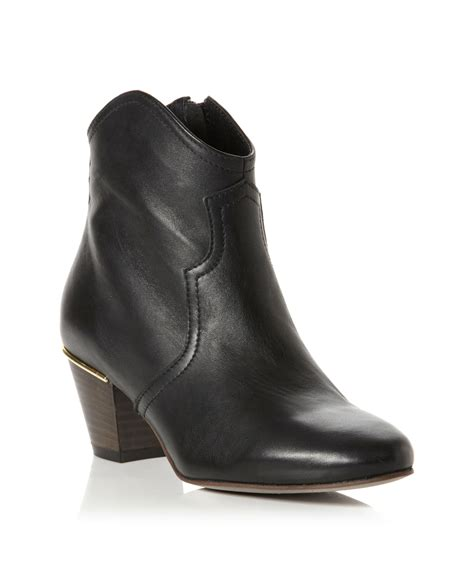 dune perla leather western style ankle boots in black lyst