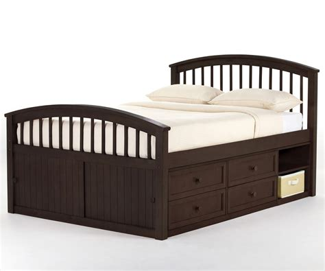 full size captains bed school house 6075 pecan finish full size captains bed ne