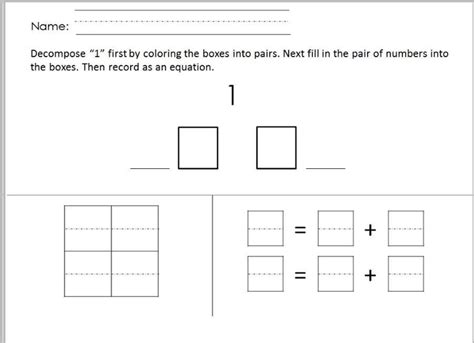 Decomposing Numbers Kindergarten Worksheets by Worksheet From Kindergarten Math Decomposing Numbers Less
