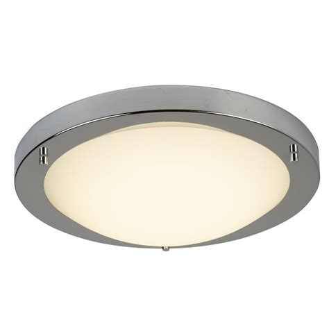 Led Flush Fitting Bathroom Ceiling Light Opal Glass With Chrome Ring by Searchlight Lighting Led Flush Bathroom Ceiling Fitting In Satin Silver Finish With Opal Glass