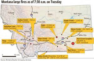 Montana Wildfire Map by Wind Shifts Dry Weather Cause Ash Creek Fire To Grow To