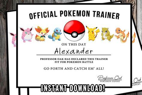 pokemon certificate pokemon birthday printable pokemon