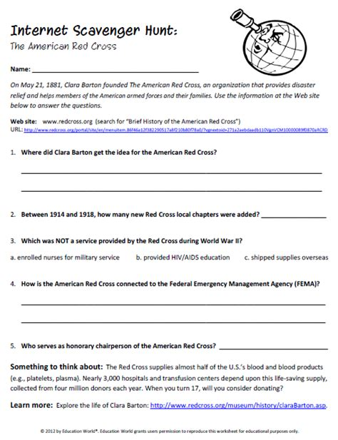 lesson plan template red cross internet scavenger hunt the american red cross