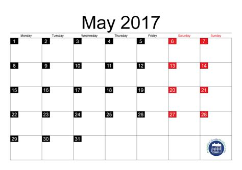 2017 May Calendar Template 17 templates may 2017 calendar printable free