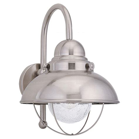 Seagull Outdoor Lighting Sea Gull Lighting Sebring 1 Light Brushed Stainless Outdoor Wall Fixture 8871 98 The Home Depot