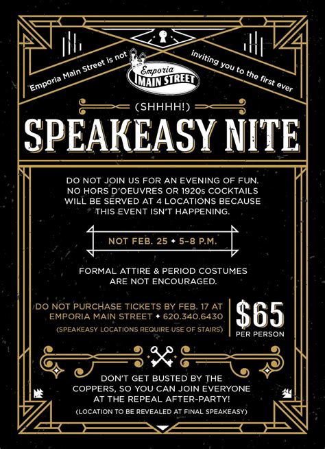 Speakeasy Nite Emporia Main Street Speakeasy Invitation Template Free