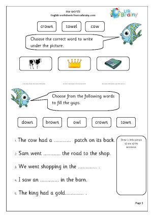free printable english worksheets for primary 1 ow words