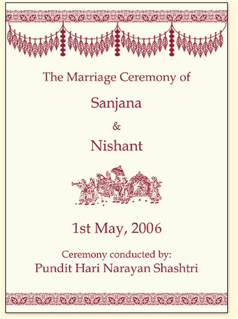 indian wedding program cards design template indian wedding invitation templates free