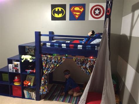 superhero bed diy superhero toddler loft bed cubby stairs loft bed