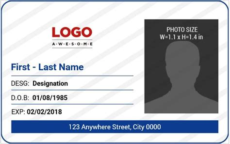 work id card template free 10 best ms word photo id badge templates for office