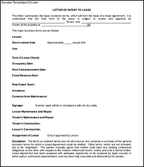 Lease Letter Of Intent Exle Simple Blank Letter Of Intent To Lease Template Sle Sle Templates