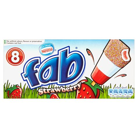 Nestlé Ice Cream Fab Strawberry 8 x 58ml   Lollies, Cones & Choc Ices   Ice Cream & Lollies