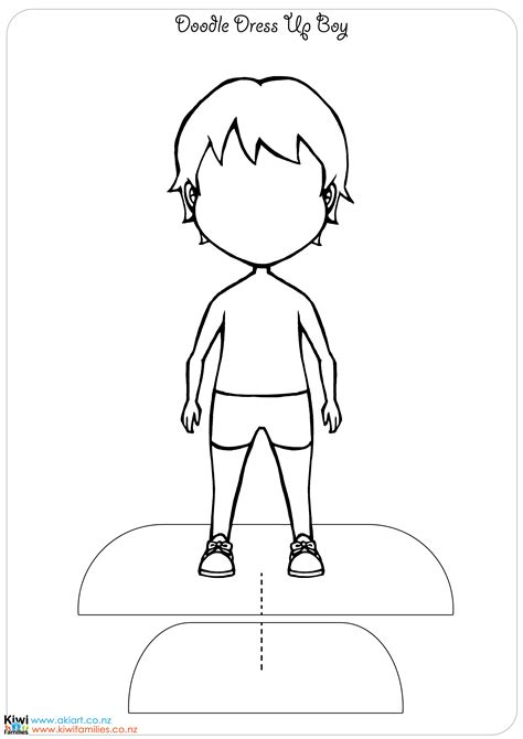 Dress A Doll Template by Make Your Own Paper Dolls Kiwi Families