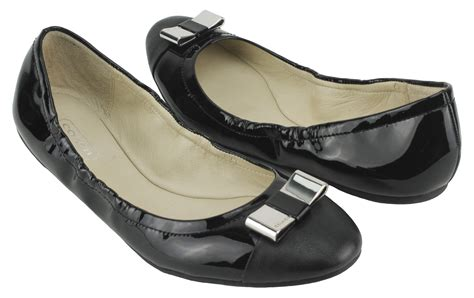 Coach Flats Leather coach s demi patent tumbled leather ballet flats black authentic nib ebay