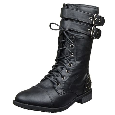 womens ankle boots buckle accent studs lace up combat
