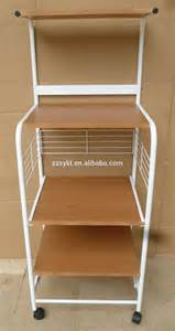 Rolling Pantry Rack by Rolling Metal Wire Wooden Kitchen Trolley Cart Microwave