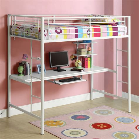 metal loft bed with desk bedroom space saving ideas using bunk bed loft bed