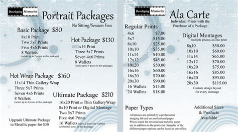 Photography Packages by Developing Memories Photography How To Order Packages