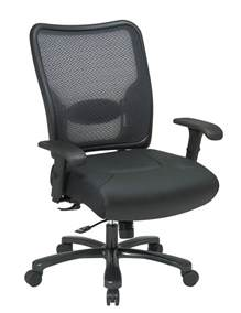 Ergonomic Office Chair Adjustable Lumbar Support Big S Airgrid 174 Back And Layered Leather Seat