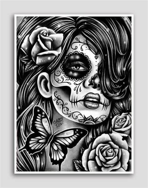 coloring pages wall art day of the dead poster sugar skull girl butterfly tattoo