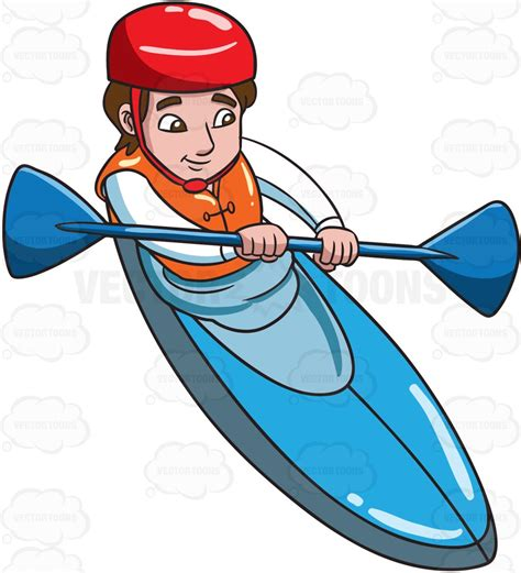 kayak clipart a paddling a kayak clipart by vector