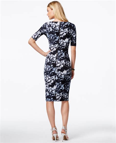 Printed Sleeve Sheath Dress lyst vince camuto printed sleeve sheath dress in blue