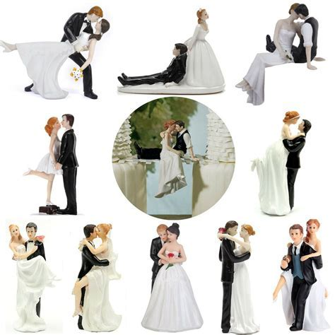 ROMANTIC FUNNY WEDDING CAKE TOPPER FIGURE BRIDE GROOM